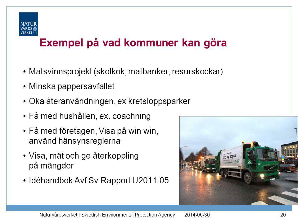 2014-06-30 Naturvårdsverket | Swedish Environmental Protection Agency 20 Exempel på vad kommuner kan göra •Matsvinnsprojekt (skolkök, matbanker, resur