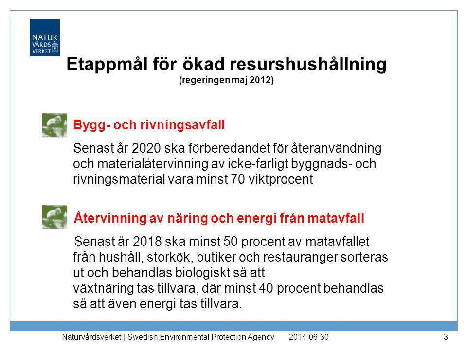 Regeringsuppdrag om avfall •Etappmål minska matavfallet (även föreslå andra mål) •Etappmål förberedelse återanvändning och materialåtervinning av papper, metall, plast, glas etc •Översyn deponiskatten 2014-06-30 Naturvårdsverket   Swedish Environmental Protection Agency 4