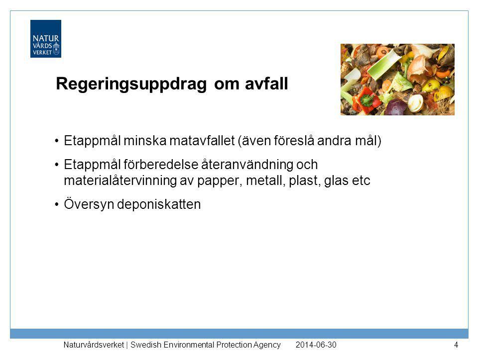 Regeringsuppdrag om avfall •Etappmål minska matavfallet (även föreslå andra mål) •Etappmål förberedelse återanvändning och materialåtervinning av papp