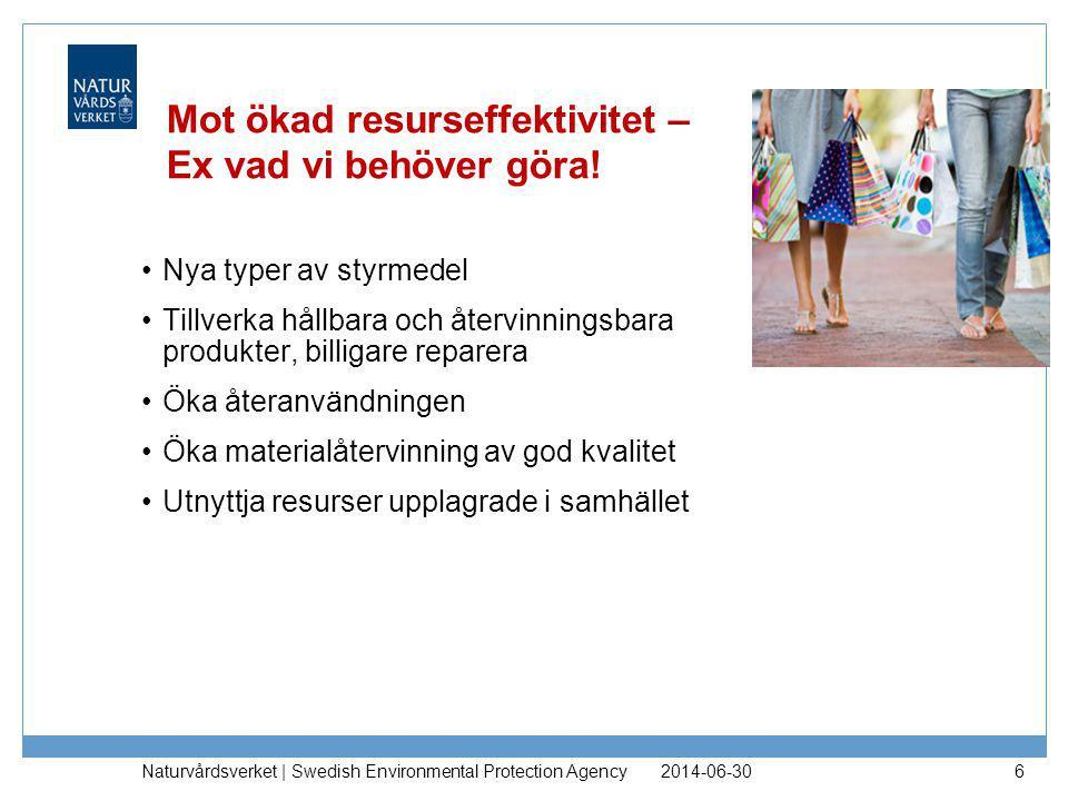 2014-06-30 Naturvårdsverket | Swedish Environmental Protection Agency 6 Mot ökad resurseffektivitet – Ex vad vi behöver göra! •Nya typer av styrmedel