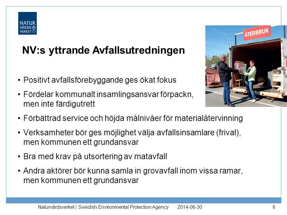 NV:s yttrande Avfallsutredningen •Positivt avfallsförebyggande ges ökat fokus •Fördelar kommunalt insamlingsansvar förpackn, men inte färdigutrett •Fö