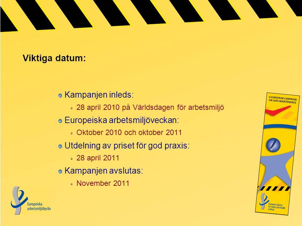 Viktiga datum: Kampanjen inleds: 28 april 2010 på Världsdagen för arbetsmiljö Europeiska arbetsmiljöveckan: Oktober 2010 och oktober 2011 Utdelning av priset för god praxis: 28 april 2011 Kampanjen avslutas: November 2011