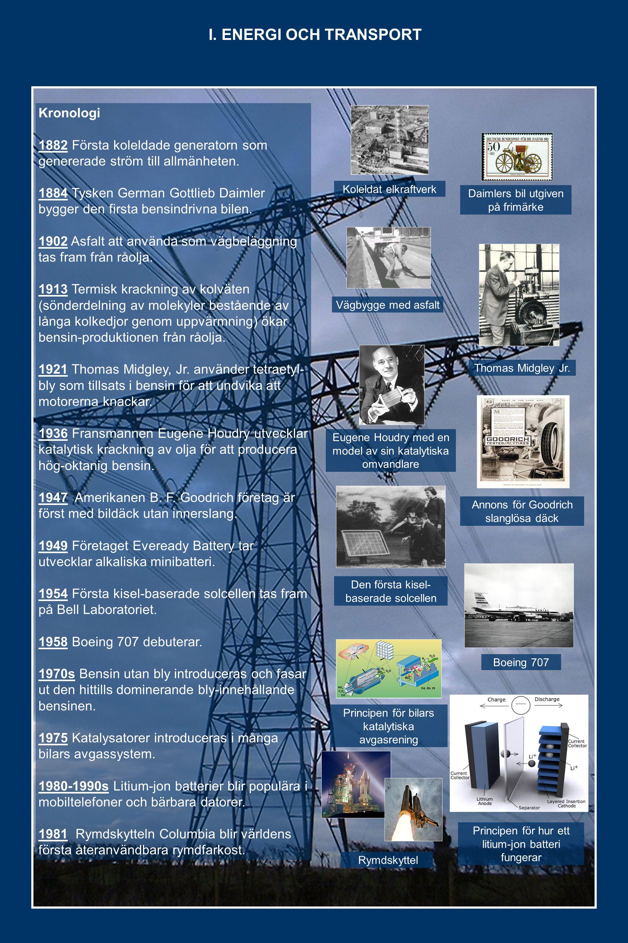 Kronologi 1882 Första koleldade generatorn som genererade ström till allmänheten.