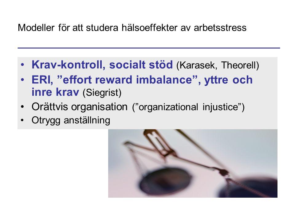 """Modeller för att studera hälsoeffekter av arbetsstress •Krav-kontroll, socialt stöd (Karasek, Theorell) •ERI, """"effort reward imbalance"""", yttre och inr"""