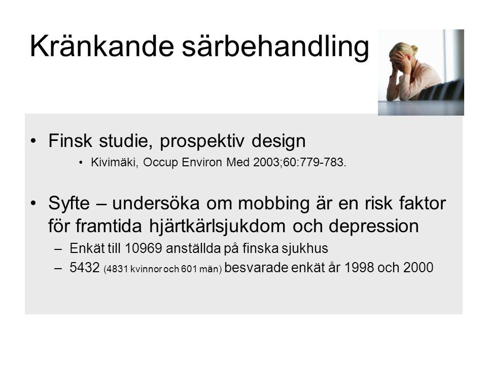 Kränkande särbehandling •Finsk studie, prospektiv design •Kivimäki, Occup Environ Med 2003;60:779-783. •Syfte – undersöka om mobbing är en risk faktor