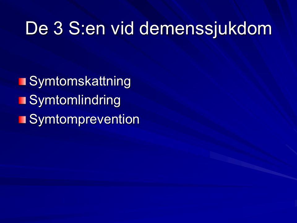 De 3 S:en vid demenssjukdom SymtomskattningSymtomlindringSymtomprevention