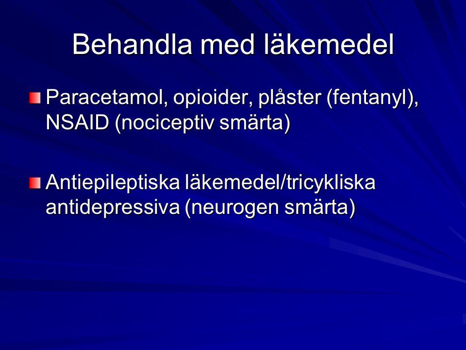 Behandla med läkemedel Paracetamol, opioider, plåster (fentanyl), NSAID (nociceptiv smärta) Antiepileptiska läkemedel/tricykliska antidepressiva (neur