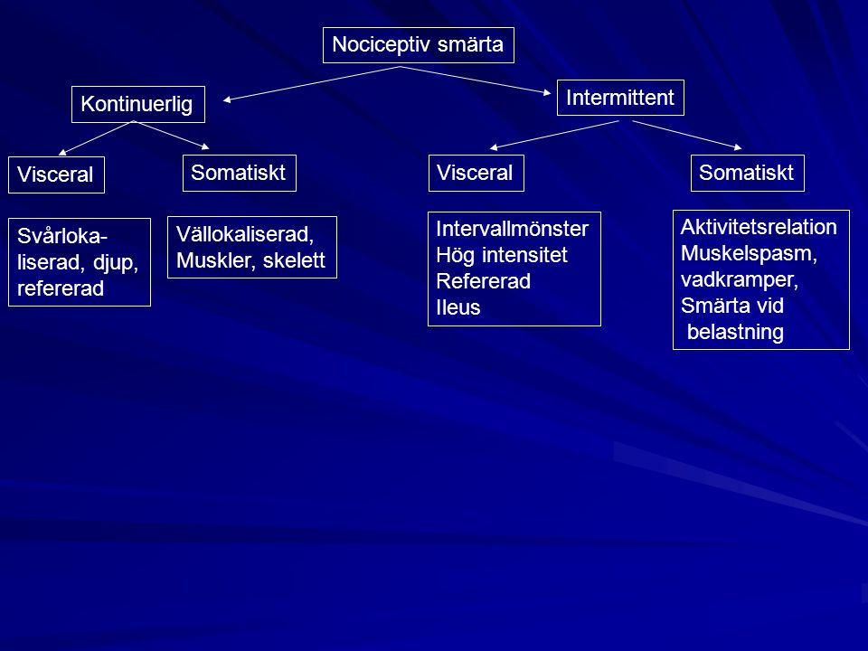 Nociceptiv smärta Intermittent Kontinuerlig Visceral SomatisktVisceralSomatiskt Svårloka- liserad, djup, refererad Vällokaliserad, Muskler, skelett In