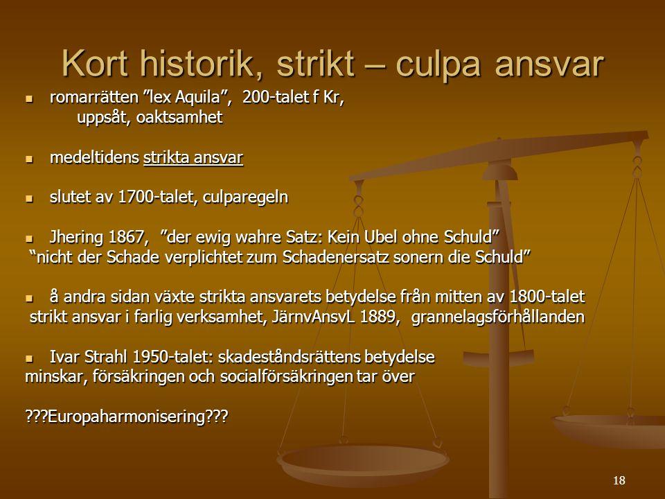 """18 Kort historik, strikt – culpa ansvar  romarrätten """"lex Aquila"""", 200-talet f Kr, uppsåt, oaktsamhet uppsåt, oaktsamhet  medeltidens strikta ansvar"""