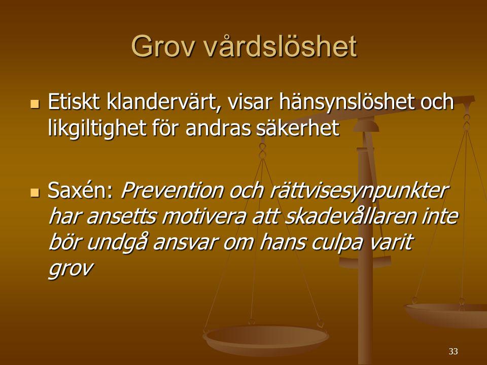 33 Grov vårdslöshet  Etiskt klandervärt, visar hänsynslöshet och likgiltighet för andras säkerhet  Saxén: Prevention och rättvisesynpunkter har anse