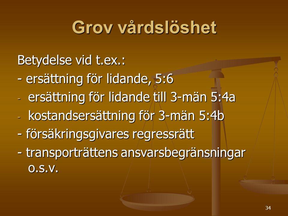 34 Grov vårdslöshet Betydelse vid t.ex.: - ersättning för lidande, 5:6 - ersättning för lidande till 3-män 5:4a - kostandsersättning för 3-män 5:4b - försäkringsgivares regressrätt - transporträttens ansvarsbegränsningar o.s.v.