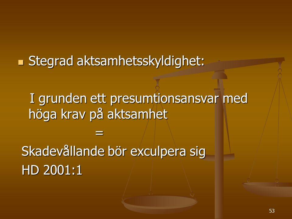 53  Stegrad aktsamhetsskyldighet: I grunden ett presumtionsansvar med höga krav på aktsamhet I grunden ett presumtionsansvar med höga krav på aktsamh