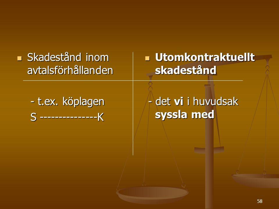 58  Skadestånd inom avtalsförhållanden - t.ex.köplagen - t.ex.