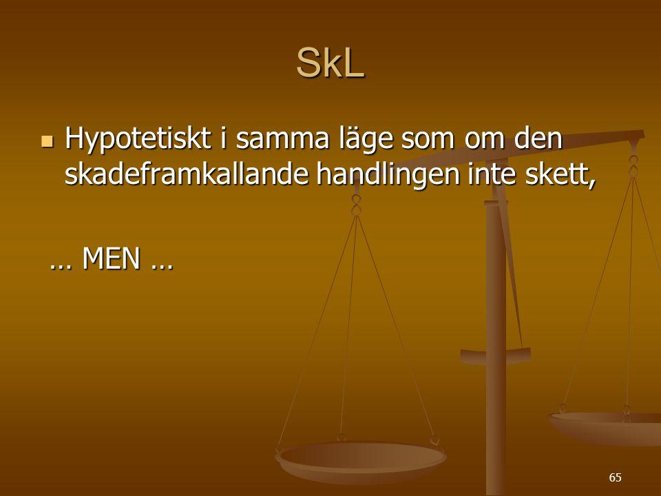 65 SkL  Hypotetiskt i samma läge som om den skadeframkallande handlingen inte skett, … MEN … … MEN …