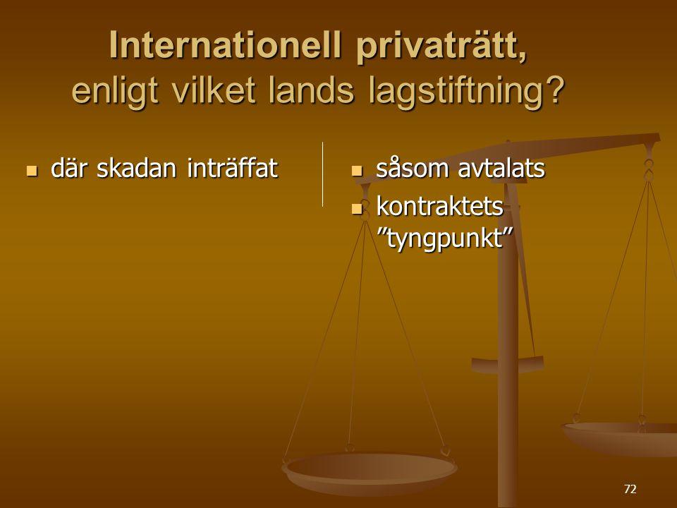 """72 Internationell privaträtt, enligt vilket lands lagstiftning?  där skadan inträffat  såsom avtalats  kontraktets """"tyngpunkt"""""""