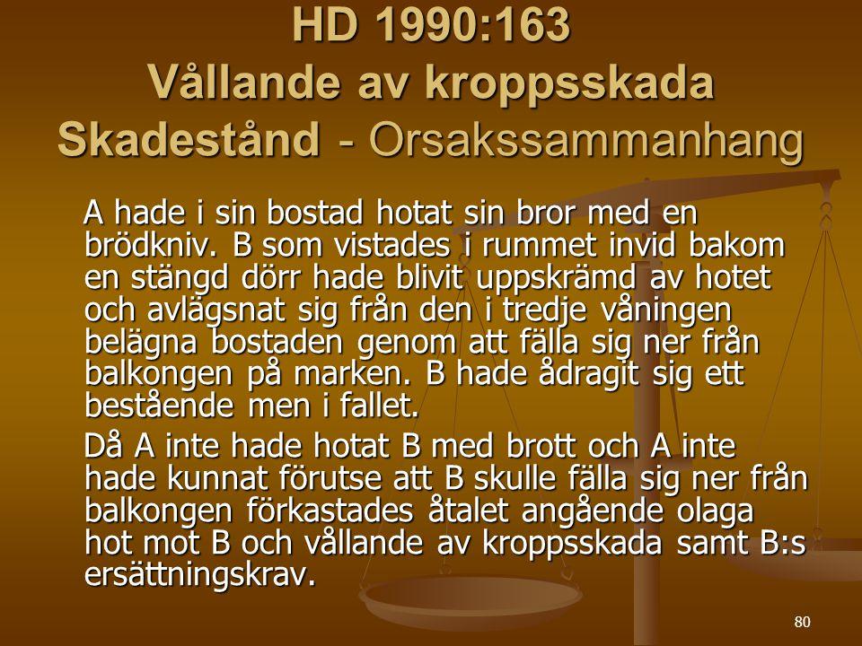 80 HD 1990:163 Vållande av kroppsskada Skadestånd - Orsakssammanhang A hade i sin bostad hotat sin bror med en brödkniv. B som vistades i rummet invid