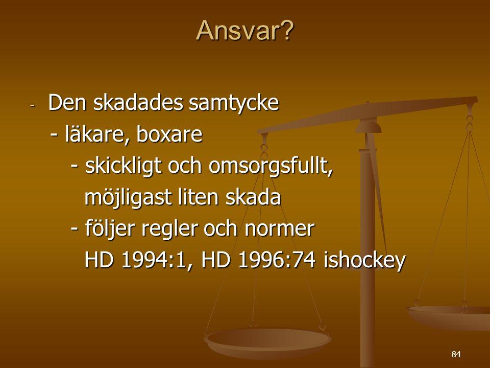 84 Ansvar.