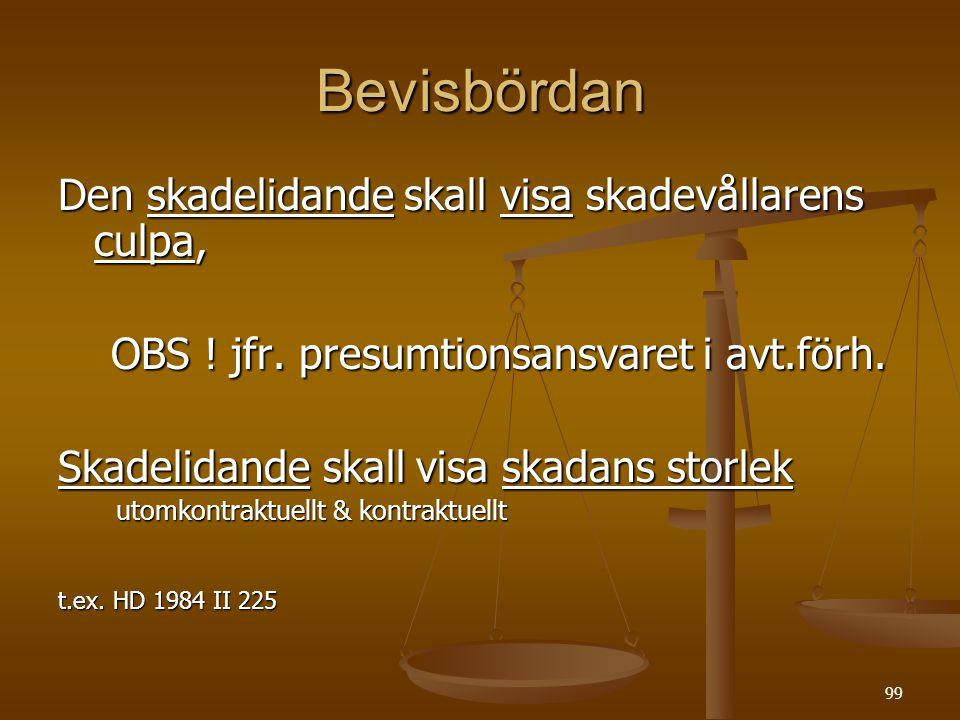99 Bevisbördan Den skadelidande skall visa skadevållarens culpa, OBS .