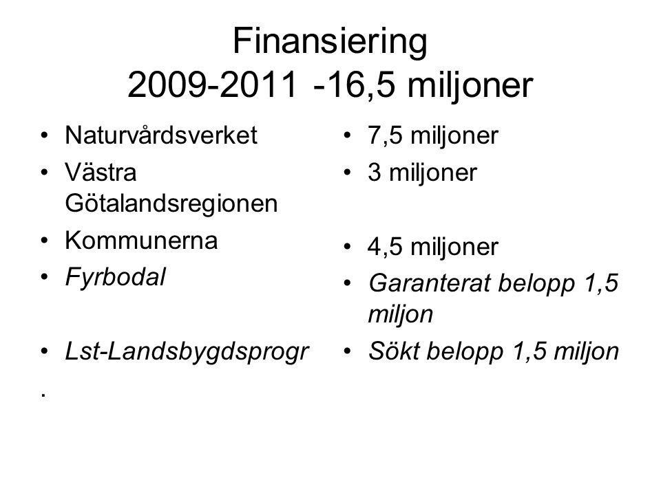 Finansiering 2009-2011 -16,5 miljoner •Naturvårdsverket •Västra Götalandsregionen •Kommunerna •Fyrbodal •Lst-Landsbygdsprogr.