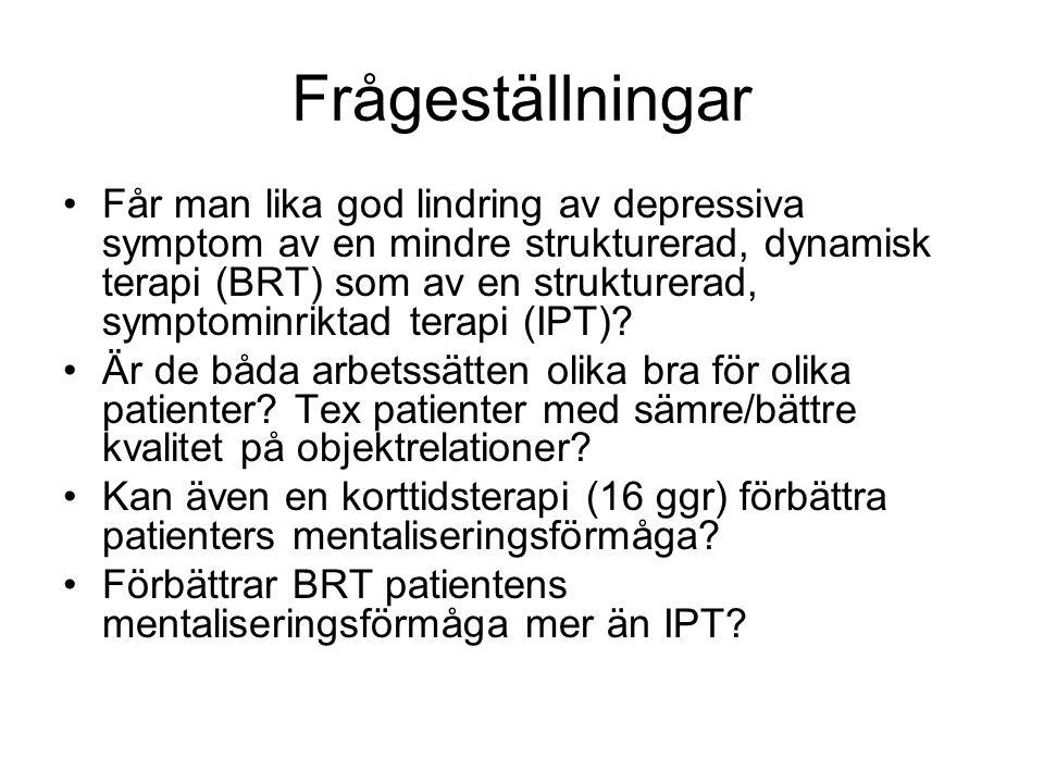 Frågeställningar •Får man lika god lindring av depressiva symptom av en mindre strukturerad, dynamisk terapi (BRT) som av en strukturerad, symptominri