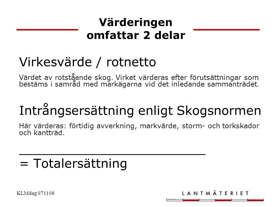 KLMdag 071108 Värderingen omfattar 2 delar Virkesvärde / rotnetto Värdet av rotstående skog. Virket värderas efter förutsättningar som bestäms i samrå
