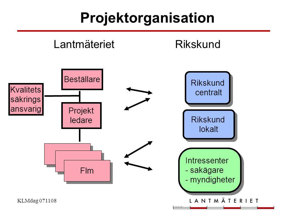 KLMdag 071108 Kvalitets säkrings ansvarig Projekt ledare Beställare Intressenter - sakägare - myndigheter Rikskund centralt Projektorganisation Riksku