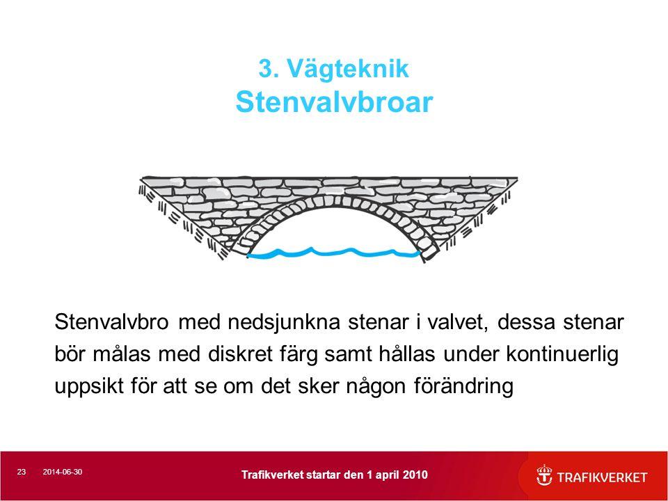 232014-06-30 Trafikverket startar den 1 april 2010 3. Vägteknik Stenvalvbroar Stenvalvbro med nedsjunkna stenar i valvet, dessa stenar bör målas med d