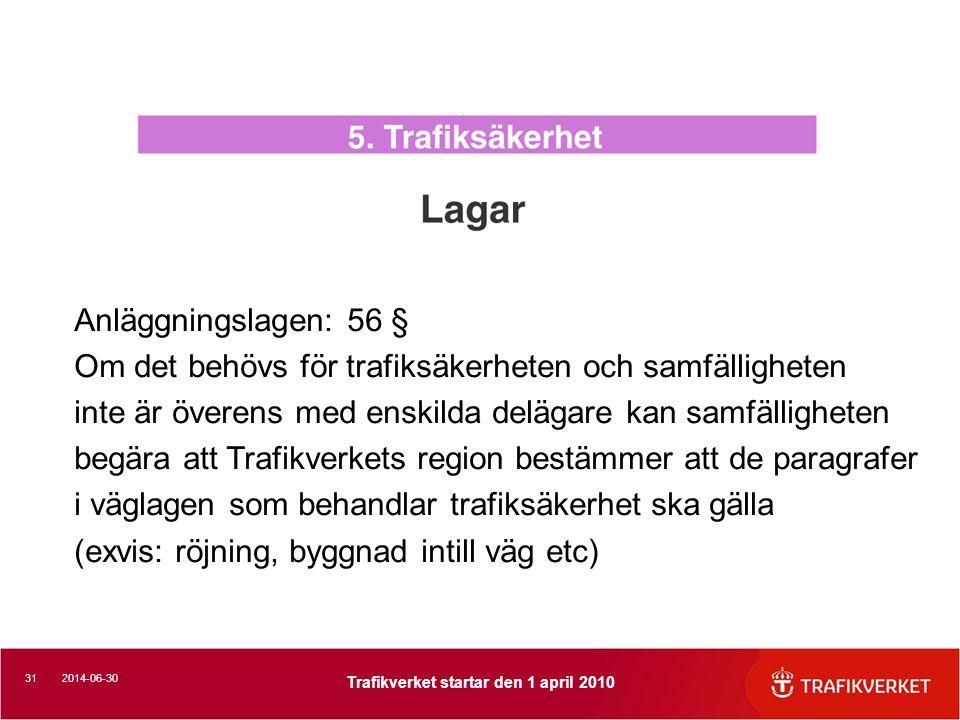 312014-06-30 Trafikverket startar den 1 april 2010 Anläggningslagen: 56 § Om det behövs för trafiksäkerheten och samfälligheten inte är överens med enskilda delägare kan samfälligheten begära att Trafikverkets region bestämmer att de paragrafer i väglagen som behandlar trafiksäkerhet ska gälla (exvis: röjning, byggnad intill väg etc)