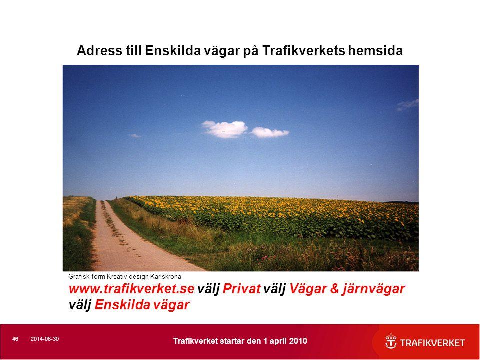 462014-06-30 Trafikverket startar den 1 april 2010 Grafisk form Kreativ design Karlskrona www.trafikverket.se välj Privat välj Vägar & järnvägar välj Enskilda vägar Adress till Enskilda vägar på Trafikverkets hemsida