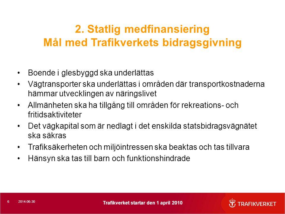 172014-06-30 Trafikverket startar den 1 april 2010 3.Vägteknik Bomberad/skevad vägbana