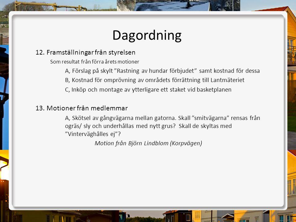 """Dagordning 12.Framställningar från styrelsen Som resultat från förra årets motioner A, Förslag på skylt """"Rastning av hundar förbjudet"""" samt kostnad fö"""