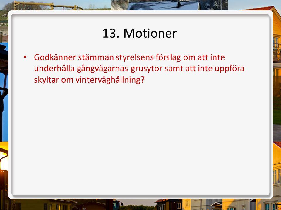 13. Motioner • Godkänner stämman styrelsens förslag om att inte underhålla gångvägarnas grusytor samt att inte uppföra skyltar om vinterväghållning?
