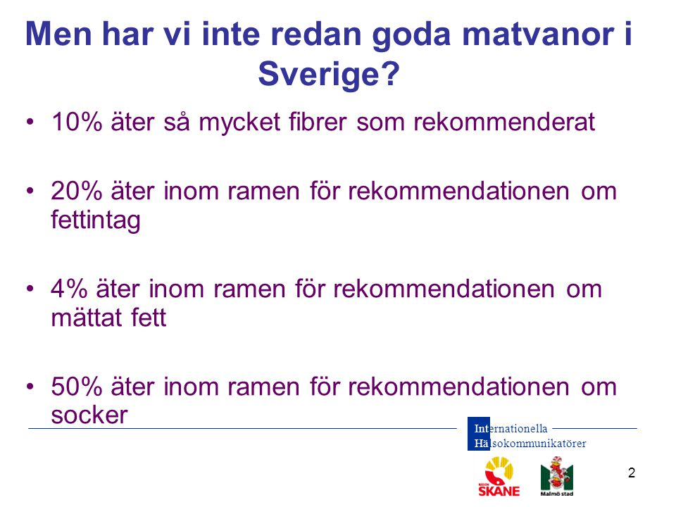 Internationella Hälsokommunikatörer 2 Men har vi inte redan goda matvanor i Sverige? •10% äter så mycket fibrer som rekommenderat •20% äter inom ramen