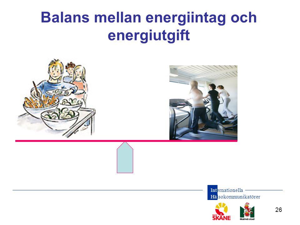 Internationella Hälsokommunikatörer 26 Balans mellan energiintag och energiutgift
