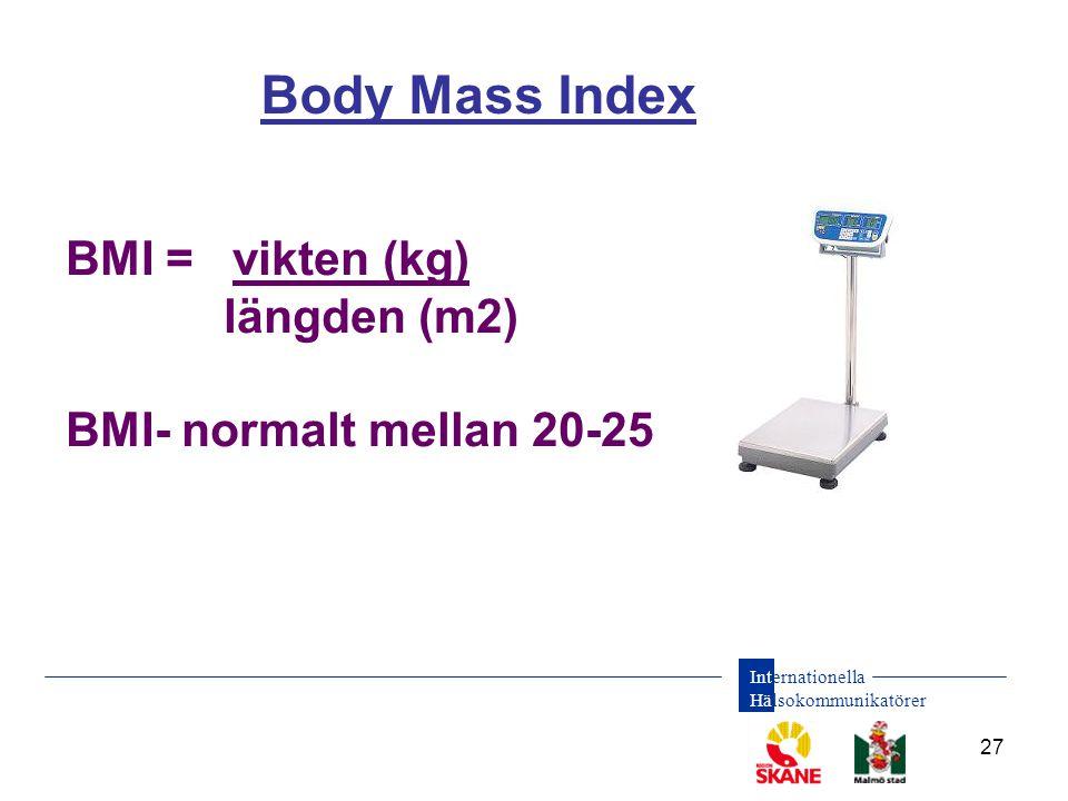 Internationella Hälsokommunikatörer 27 Body Mass Index BMI = vikten (kg) längden (m2) BMI- normalt mellan 20-25