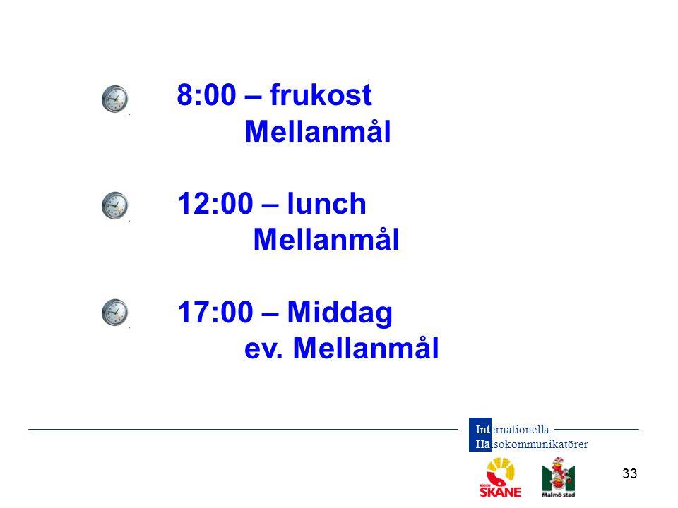 Internationella Hälsokommunikatörer 33 8:00 – frukost Mellanmål 12:00 – lunch Mellanmål 17:00 – Middag ev. Mellanmål