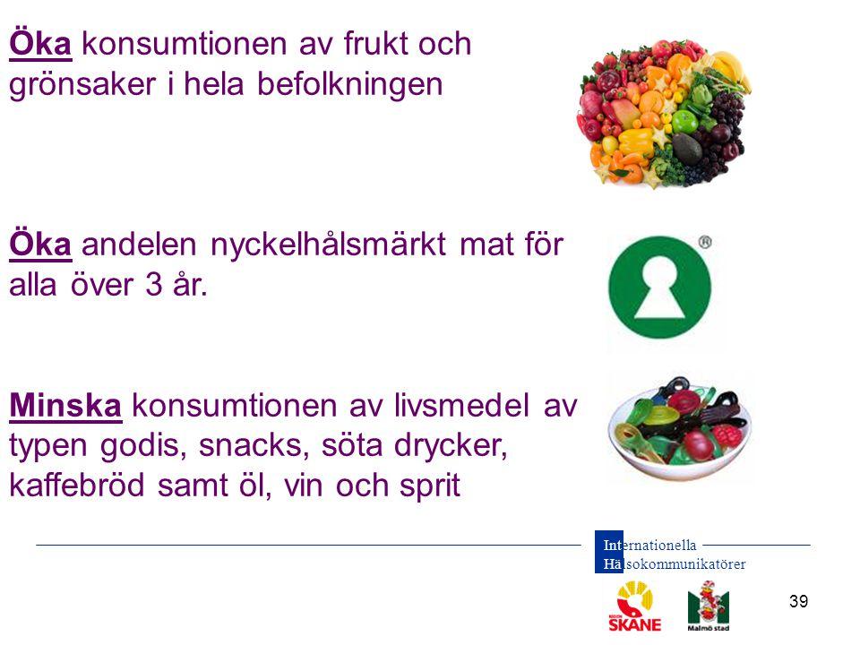 Internationella Hälsokommunikatörer 39 Öka konsumtionen av frukt och grönsaker i hela befolkningen Öka andelen nyckelhålsmärkt mat för alla över 3 år.