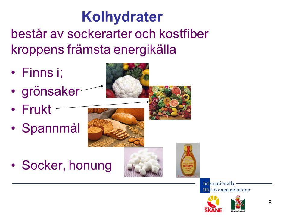 Internationella Hälsokommunikatörer 8 består av sockerarter och kostfiber kroppens främsta energikälla •Finns i; •grönsaker •Frukt •Spannmål •Socker, honung Kolhydrater
