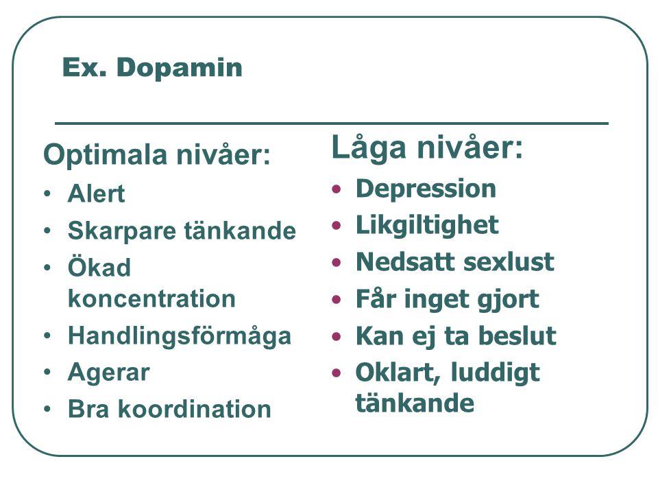 Ex. Dopamin Optimala nivåer: •Alert •Skarpare tänkande •Ökad koncentration •Handlingsförmåga •Agerar •Bra koordination Låga nivåer: •Depression •Likgi