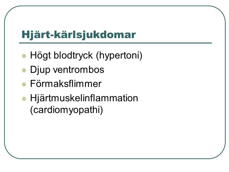 Hjärt-kärlsjukdomar  Högt blodtryck (hypertoni)  Djup ventrombos  Förmaksflimmer  Hjärtmuskelinflammation (cardiomyopathi)