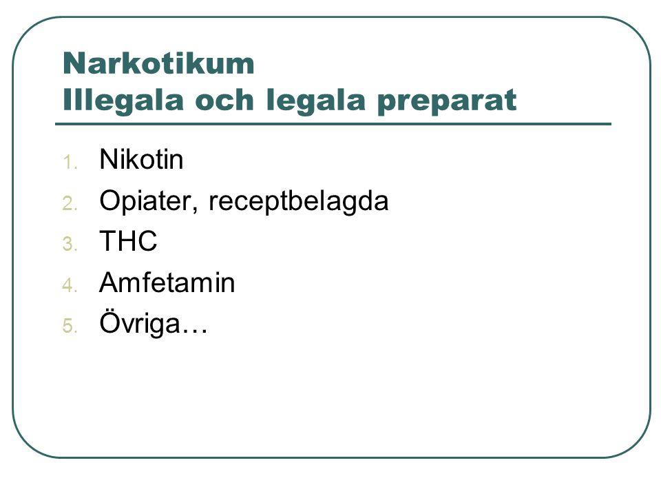 Narkotikum Illegala och legala preparat 1. Nikotin 2. Opiater, receptbelagda 3. THC 4. Amfetamin 5. Övriga…