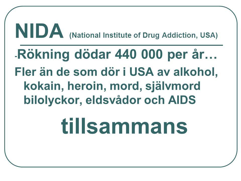 NIDA (National Institute of Drug Addiction, USA) - Rökning dödar 440 000 per år… Fler än de som dör i USA av alkohol, kokain, heroin, mord, självmord