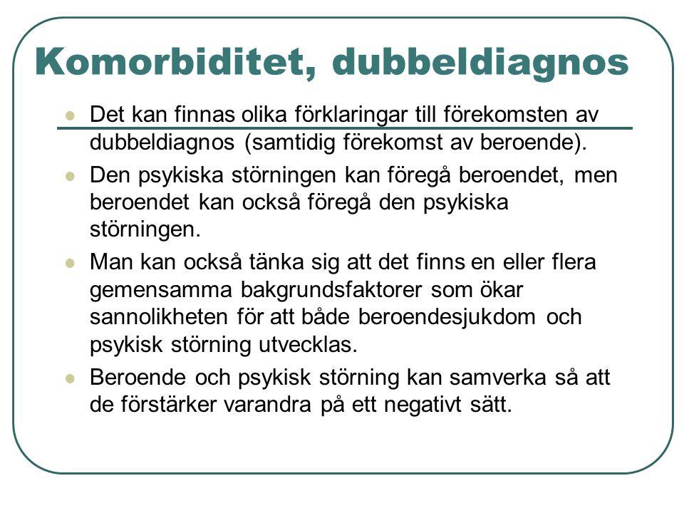 Komorbiditet, dubbeldiagnos  Det kan finnas olika förklaringar till förekomsten av dubbeldiagnos (samtidig förekomst av beroende).  Den psykiska stö