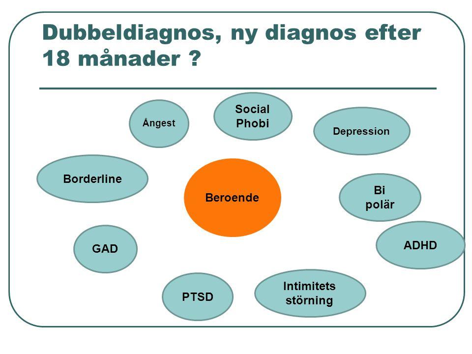 Dubbeldiagnos, ny diagnos efter 18 månader ? Beroende Depression Bi polär ADHD Ångest Borderline GAD PTSD Social Phobi Intimitets störning