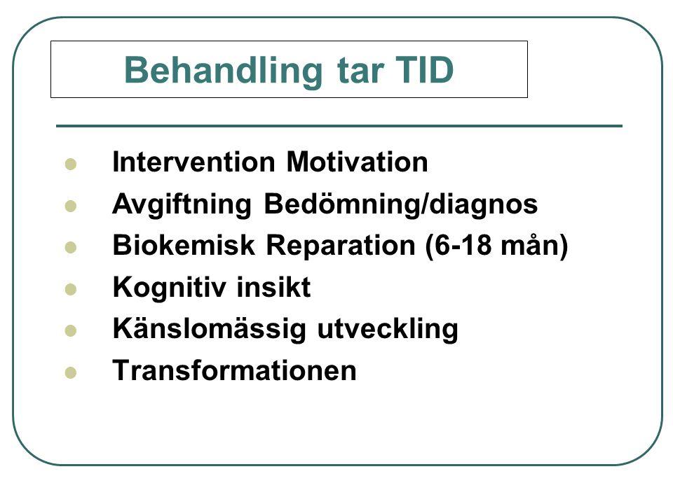  Intervention Motivation  Avgiftning Bedömning/diagnos  Biokemisk Reparation (6-18 mån)  Kognitiv insikt  Känslomässig utveckling  Transformatio