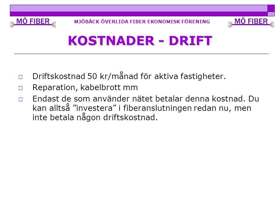 MJÖBÄCK ÖVERLIDA FIBER EKONOMISK FÖRENING KOSTNADER - DRIFT  Driftskostnad 50 kr/månad för aktiva fastigheter.