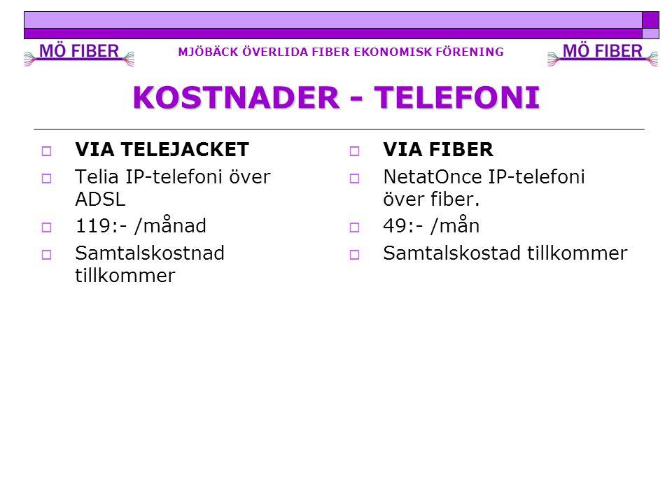 MJÖBÄCK ÖVERLIDA FIBER EKONOMISK FÖRENING KOSTNADER - TELEFONI  VIA TELEJACKET  Telia IP-telefoni över ADSL  119:- /månad  Samtalskostnad tillkommer  VIA FIBER  NetatOnce IP-telefoni över fiber.