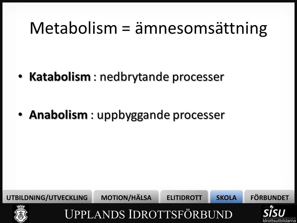 Metabolism = ämnesomsättning • Katabolism : nedbrytande processer • Anabolism : uppbyggande processer