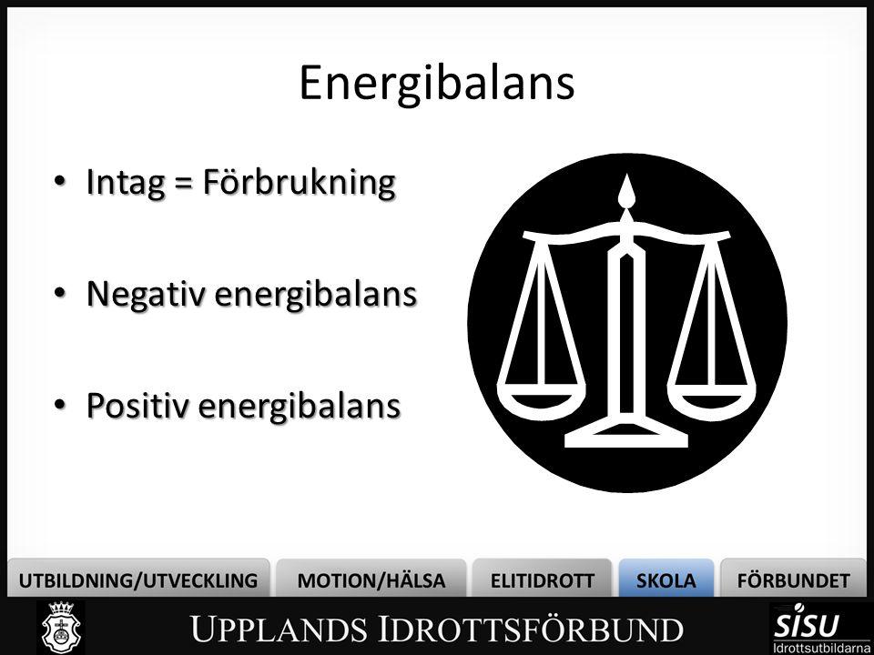 Energibalans • Intag = Förbrukning • Negativ energibalans • Positiv energibalans