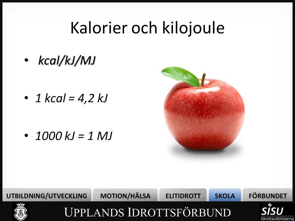 Kalorier och kilojoule • kcal/kJ/MJ • 1 kcal = 4,2 kJ • 1000 kJ = 1 MJ